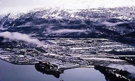 aerial of City of Valdez in winter